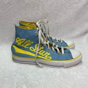 Converse All Stars Blue and Gold High Top Shoes